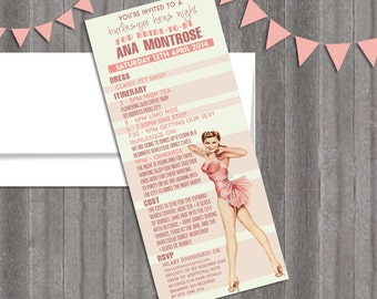 Vintage Pin Up Girl Burlesque Invitation- Bachelorette party, Hens night, Lingerie Shower Hen Party invite diy print file PRINTED OPTIONAL