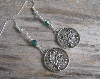 Personalized Taurus Earrings, Zodiac Earrings, Emerald or Diamond Earrings, Swarovski Birthstone, Astrology Earrings, April May Jewelry
