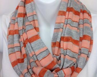Peach dark orange and gray striped infinity scarf