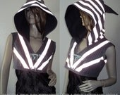 Reflective Elf Hoodie Shrug - One of a Kind - Ready to Ship Now - S/M - Womens Pixie Hood Shrug Vest Jacket - Glow UV Cyber Fairy