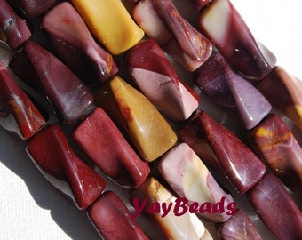 20x10mm Mookaite Rectangle Twist Beads Stone Brown Dusty Rose Pink Yellow Qty 6