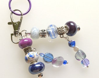 Pretty Beaded Key Ring With Handmade Purple and Blue Murano Beads