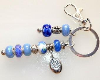 Shimmery Blue Beaded Key Chain
