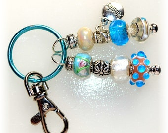 "Aqua Beaded Key Ring With ""Miracles"" Charm"