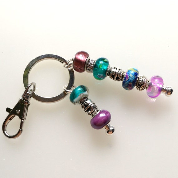teal and purple beaded key ring