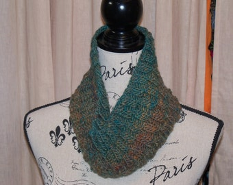 Green and Brown Wool Cowl Scarf