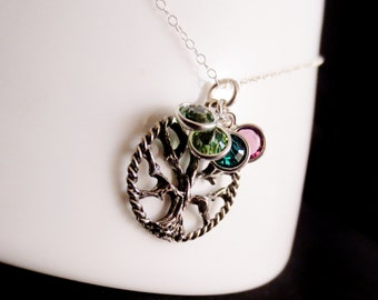 SALE Silver Family Tree Birthstone Necklace, Grandma Mom Cousin Aunt Holiday Christmas Present, Round Pendant, Mothers Day