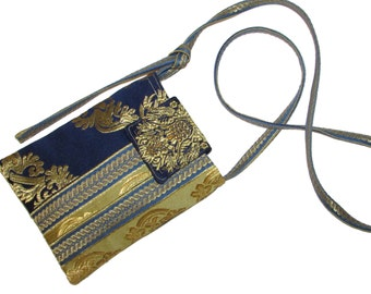 118- small bag, purse, color blue and yellow gold , handmade