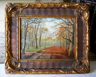 Listed European Impressionist Antique Miniature Oil Painting on Board 1932 Ludwig Werner Small Autumn Fall Forest Landscape Oil Painting