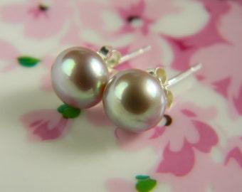 Freshwater Pearl Earrings Sterling Silver Stud Earrings Silver Violet Tan 7mm natural Pearls, Handmade Silver Earrings Bridal Gift