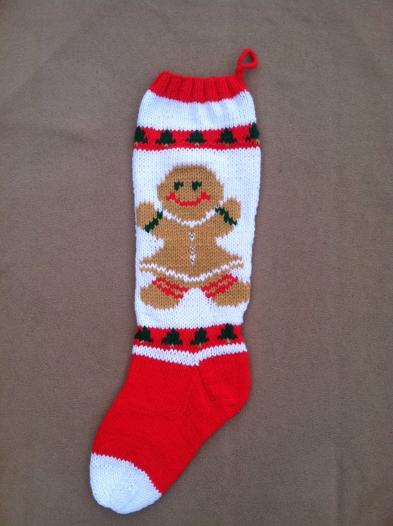 Hand Knit Gingerbread Woman Christmas Stocking