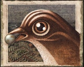 Whimsical bird art sepia print 8x10, Birdland: Fantasy bird, earth & miniature landscape.  Surreal painting, bird lover gift curiosity