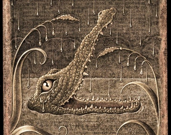 Crocodile tears sepia art print, Lachrymal (Tincture): Fantasy animal art, botanical details, optometry, water, odd nature art, Letter L