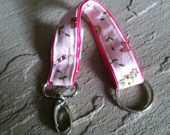 Fabric Key Chain - Winter Wonders on Pink with Swivel Clasp