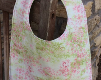 TODDLER or NEWBORN Bib: Pale Pink Meadow of Flowers, Personalization Available