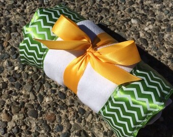 Burp Cloth / Changing Pad: Chevron Zig Zag Print on Lime Green, Personalization Available