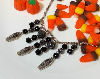 Coffin Charm Necklace, Pewter Coffin Charm With Black Crackle Quartz Stone Halloween Necklace, Halloween Necklace