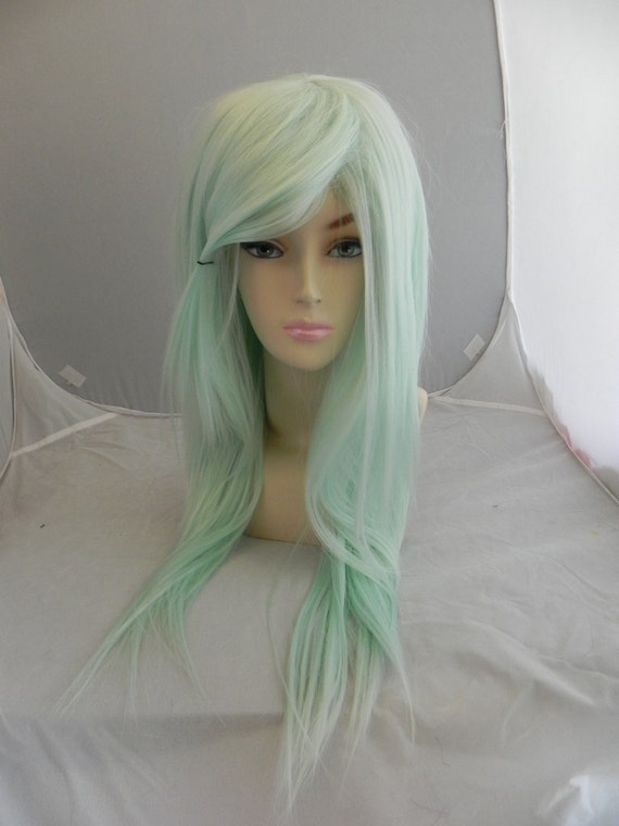 24'' Kylie Jenner Wig Ombre Mint green Natural Cheap Hair ... |Mint Hair Wig