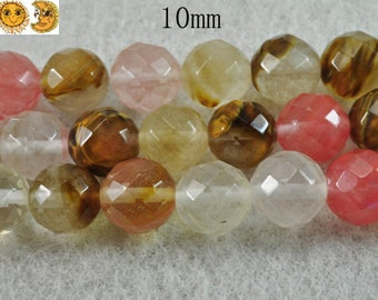 15 inch strand of Fire Cherry quartz faceted(64) round beads,mixedcolor 10mm