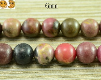 15 inch strand of Rhodonite smooth round beads 6 mm
