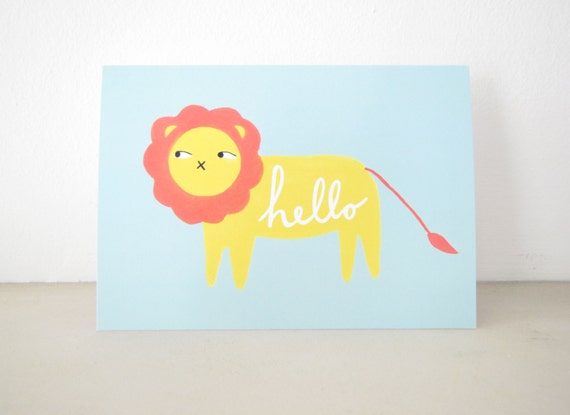 Greeting Card for any Occasion, Blank Notecard Stationery, Hello lion, thinking of you friend, whimsical animal illustration