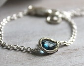 Blue Topaz Thin Silver Bracelet - Layering Bracelet - Tiny Gemstone Bracelet-  Hand Wire Wrapped Jewelry