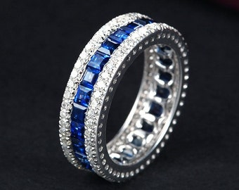 Engagement Ring -  3.5 Carat Blue Sapphire Ring With Diamonds In 14K White Gold