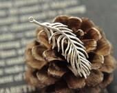 6pcs raw brass plating matt silver  feather   pendant finding