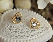 6pcs raw brass plating matt gold heart earring pendant finding