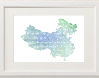 CHINA Adoption Art Print // Chalkboard or Watercolor Verse // Christian Scripture Art Print // Ephesians 1