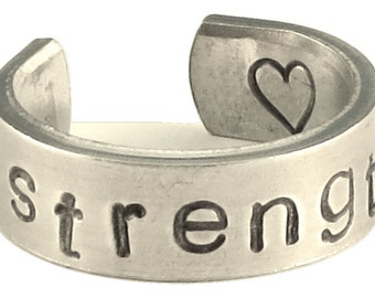 Personalized Ring - Strength - Adjustable Hand Stamped Hammered Aluminum