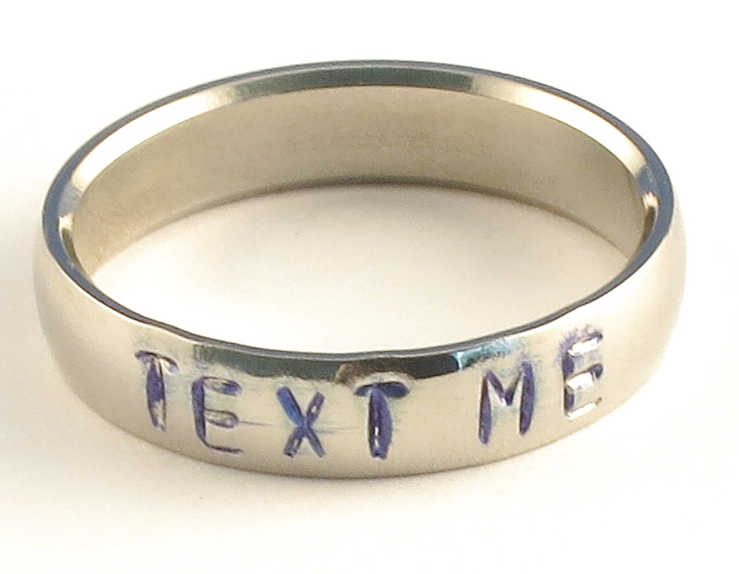 TEXT ME - Personalized Stainless Steel Low Dome Hand Stamped Name Ring 5mm Ring Sizes 3-14