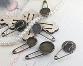 Antique bronze round bezel cup cabochon mountings safety pin brooch, 5 size available- 12mm/ 14mm/ 16mm/ 18mm/ 20mm- W06823