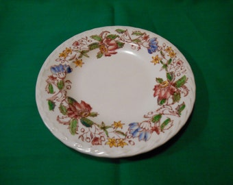 "One (1), 6 5/8"", Hand Painted, Under Glaze,  Bread & Butter Plate, from Vernon Kilns, in the Dolores Pattern."
