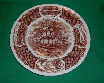 "One (1), 10 5/8"" Dinner Plate, from Alfred Meakin, in the Fair Winds Pattern."