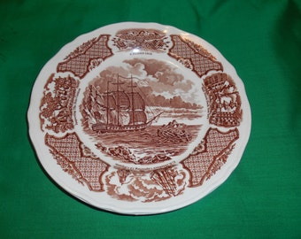 """Two (2), 8"""" Salad Plates, from Alfred Meakin, in the Fair Winds - Brown Pattern."""
