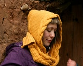 Yellow knit hood scarf for women, winter alpaca hooded scarves, womens fashion accessories