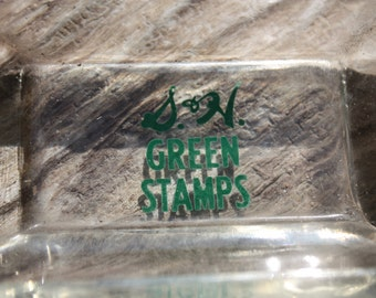 Vintage S & H Green Stamps Glass Ashtray/Home Decor, Green Printing In Center, No Chipping, Great For Use Or Display, Mid Century