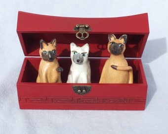 OOAK Handmade Siamese Cats in a Chinese Wooden Box Assemblage