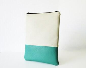 Leather iPad mini case, iPad mini sleeve, iPad mini cover, Cream and Mint