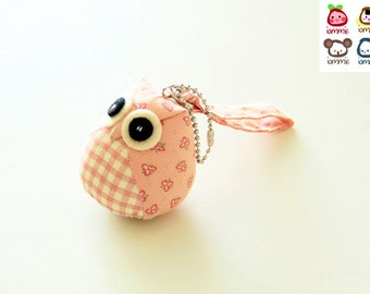 Bella - Owl Doll, owl plush, animal doll, pink, animal plush, with a Bag, plush, keychain, children, poke dot, dots, baby, boy, girl, kid
