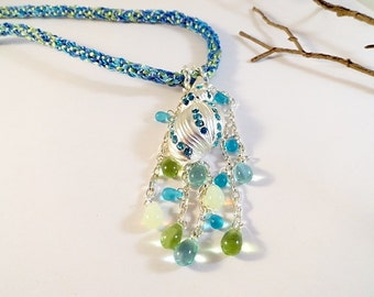 Turquoise, Aqua And Lime With Silver Kumihimo Necklace, Silver Shell Pendant, Hand  Dyed Silk Ribbon, Turquoise, Aqua, Lime, Silver, OOAK