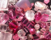 50% OFF SALE Pretty in Pink Shell, Glass, Pearl Plastic Bead Sampler Mix 100 Piece Set 4-30mm