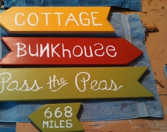 Hand crafted custom directional signs