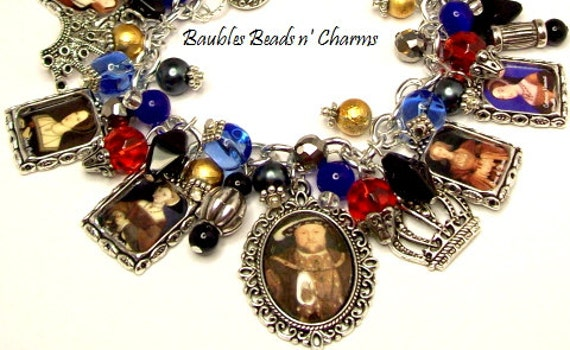King Henry and His Six Wives Charm Bracelet Jewelry, The Tudors Charm Bracelet, Picture Charm Bracelet, Photo Charm Bracelet