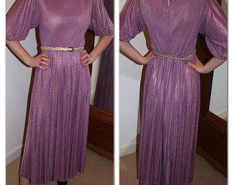 Vintage 1970s Purple Midi Dress with pleated skirt