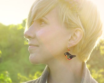 Bullfinches Birds Earrings red and black, birds jewelry, bright jewelry, handmade, christmas in july