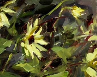 Plein air oil painting: Sunflowers