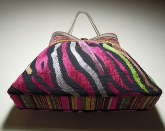 Pleated Bag/Shoulder Purse, Unique and Stylish, Handmade from Upholstery Fabric with Colorful Woven Chenille Animal Print & Stripes Patterns