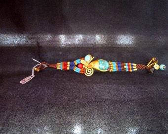 Vintage, Handmade, Multi-colored, Woven, Dragonfly, Bracelet,